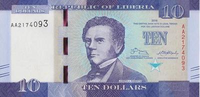 10 долларов 2016 Либерия.