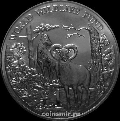 1 фунт 1986 Кипр. 25 лет Всемирному фонду дикой природы. Кипрский муфлон.