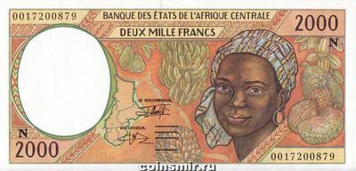 2000 франков 1993-2000 N КФА BEAC (Центральная Африка).