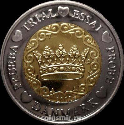 2 евро 2002 Дания. Европроба. Specimen.