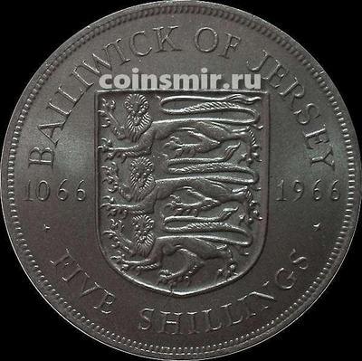 5 шиллингов 1966 Джерси. Нормандское завоевание Англии.