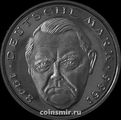 2 марки 1988 D Германия (ФРГ). Людвиг Эрхард. Пруф.