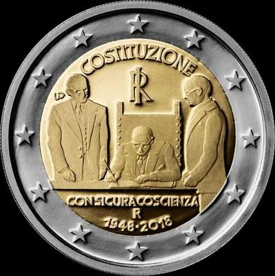 2 евро 2018 Италия. 70 лет Конституции Италии.