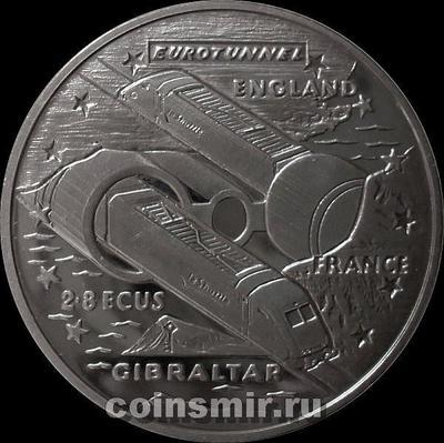 2,8 экю 1993 Гибралтар. Евротоннель под Ла-Маншем.