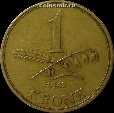 1 крона 1942 Дания. (в наличии 1945 год)