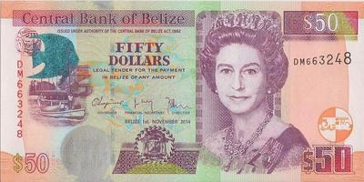 50 долларов 2014 Белиз.