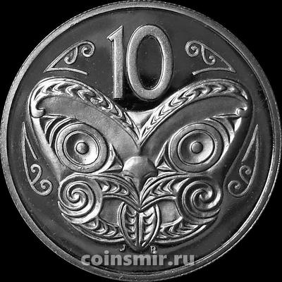 10 центов 1983 Новая Зеландия. Маска Маори. Пруф.