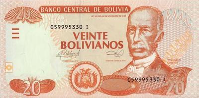 20 боливиано 2012 Боливия.