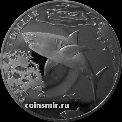 1 доллар 2016 Британские Виргинские острова. Большая белая акула.