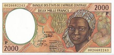 2000 франков 1993-2000 Р КФА BEAC (Центральная Африка).