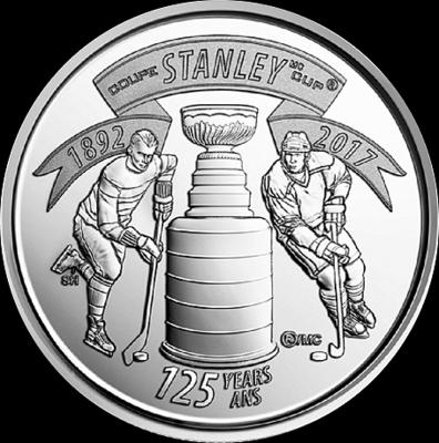 25 центов 2017 Канада. 125 лет кубку Стэнли.