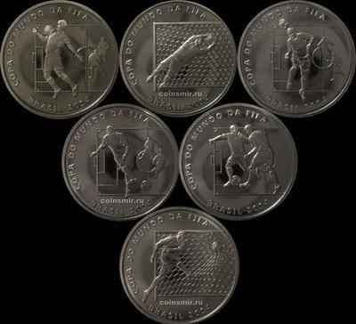 Набор из 6 монет 2014 Бразилия. Чемпионат мира по футболу 2014 в Бразилии.
