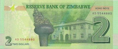 2 доллара 2016 Зимбабве. Bond note.