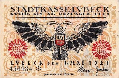 1/2 марки 1921 Германия г.Любек (Шлезвиг-Гольштейн). Нотгельд.