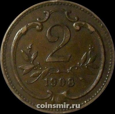 2 геллера 1908 Австрия.