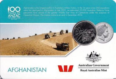 25 центов 2016 Австралия. 100 лет АНЗАК — Афганистан.