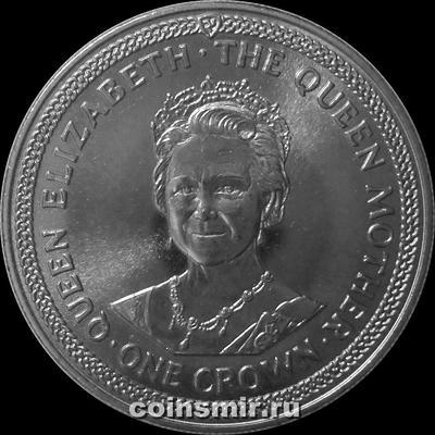 1 крона 1985 остров Мэн. 85 лет Королеве-Матери. (5)
