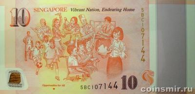 10 долларов 2015 Сингапур. 50 лет независимости Сингапура. (2)