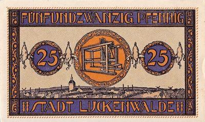 25 пфеннигов 1921-1922 Германия. г. Лукенвальде (Бранденбург). Нотгельд.