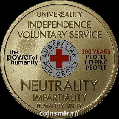 1 доллар 2014 Австралия. 100 лет красному кресту в Австралии.