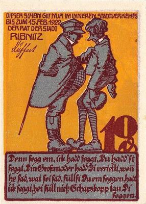 10 пфеннигов 1922 Германия г.Рибниц (Мекленбург-Передняя Померания). Нотгельд.