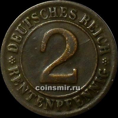 2 пфеннига 1924 D Германия. RENTENPFENNIG