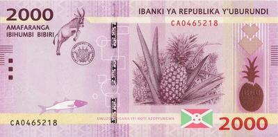 2000 франков 2015 Бурунди.