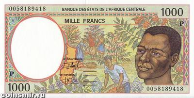 1000 франков 1993-2000 P КФА BEAC (Центральная Африка).