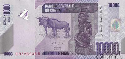10000 франков 2013 Конго.