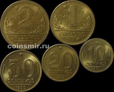 Набор из 5 монет 1945-1955 Бразилия.