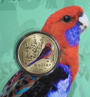 1 доллар 2011 Австралия. Попугай Малиновая Розелла.