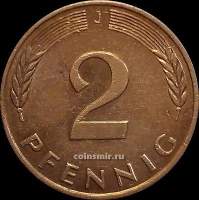2 пфеннига 1989 J Германия (ФРГ).