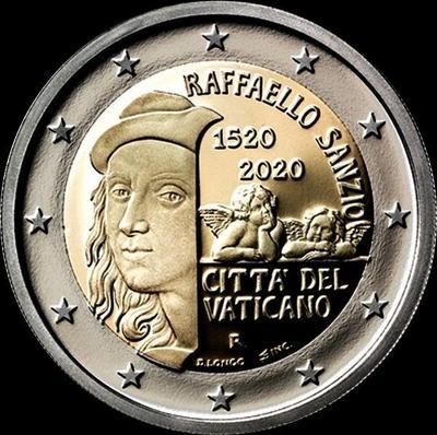 2 евро 2020 Ватикан. 500 лет со дня смерти Рафаэля Санти.