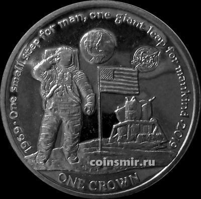 1 крона 2019 остров Вознесения. Первый человек на Луне. 50 лет.