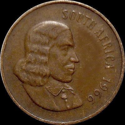 2 цента 1966 Южная Африка. Английская надпись.