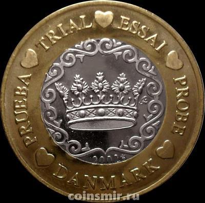 1 евро 2002 Дания. Европроба. Specimen.