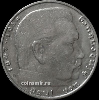 2 марки 1937 D Германия. Гинденбург. Третий Рейх.