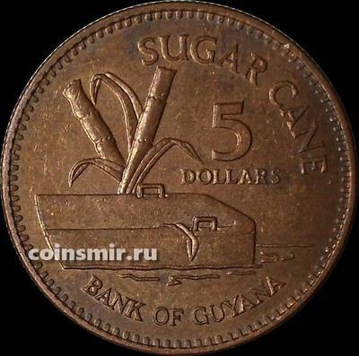 5 долларов 2002 Гайана. Сахарный тростник.