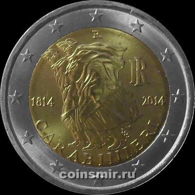 2 евро 2014 Италия. 200 лет итальянским карабинерам.