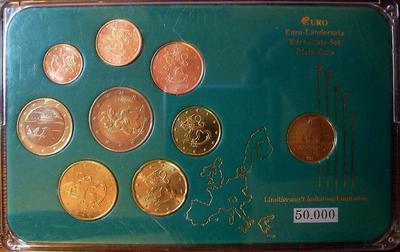 Набор евро монет разные годы 1999-2007 Финляндия. Пластик.