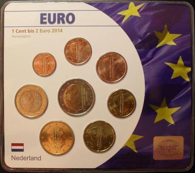 Набор евро монет  2014 Нидерланды. Блистер.