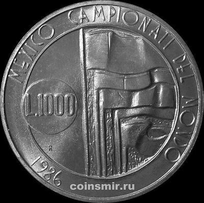 1000 лир 1986 Сан-Марино. Чемпионат мира по футболу 1986.
