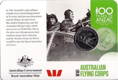 20 центов 2015 Австралия. АНЗАК - Первая Мировая Война 1914-1918. Австралийский летный корпус. Открытка.