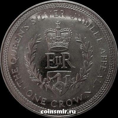 1 крона 1977 остров Мэн. 25 лет правления Елизаветы II.