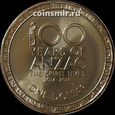 1 доллар 2016 Австралия. 100 лет АНЗАК.
