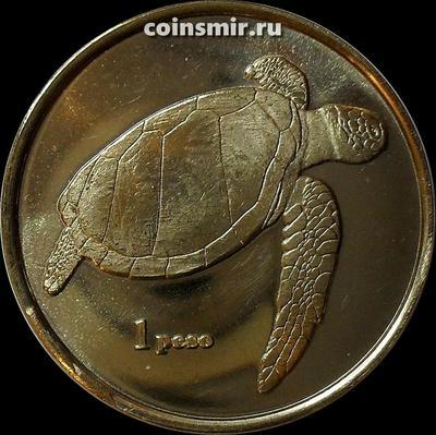 1 песо 2018 остров Пасхи. Морская черепаха.
