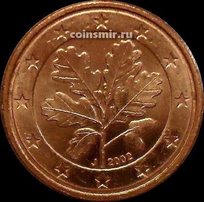 1 евроцент 2002 J Германия. Листья дуба.