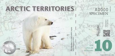 10 долларов 2010 Арктические территории.