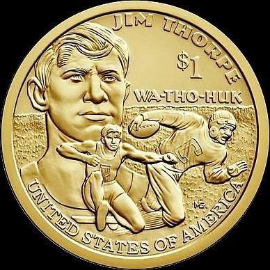 1 доллар 2018 D США. Джим Торп. Легенда Американского футбола.