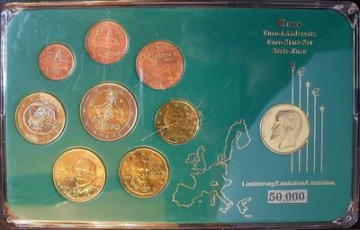 Набор евро монет 2002,2004 Греция. Пластик.